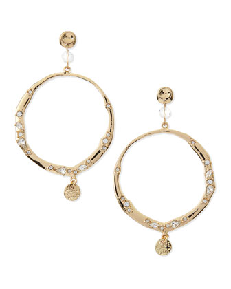 Crystal Hoops with Charms, Golden