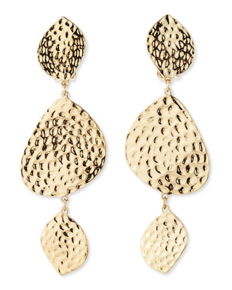 Hammered Dangle Earrings, Golden