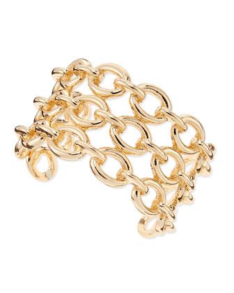 Chain-Link Cuff Bracelet, Golden