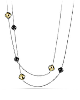 Chatelaine Chain Necklace with Black Onyx and Gold