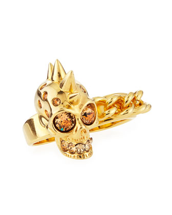 Skull & Chain Two-Finger Ring
