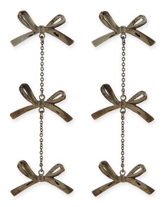 3-Tier Bow Earrings, Gunmetal