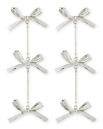 3-Tier Bow Earrings, Silver-Plate