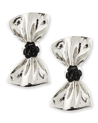 Large Bow Earrings, Silver-Plate/Black