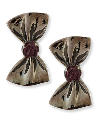 Large Bow Earrings, Gunmetal/Port