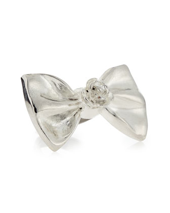 Large Bow Ring, Silver-Plate