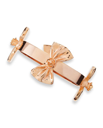 Bow Bangle Bracelet, Rose Gold-Plate