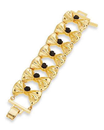Fold-Over Bow Bracelet, Gold-Plate/Black