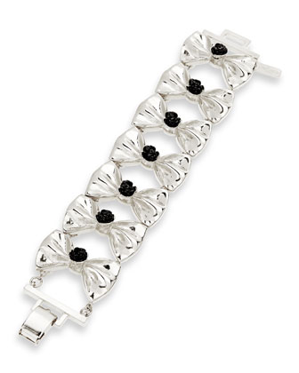 Fold-Over Bow Bracelet, Silver-Plate/Black