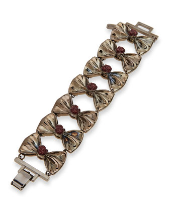 Fold-Over Bow Bracelet, Gunmetal/Port