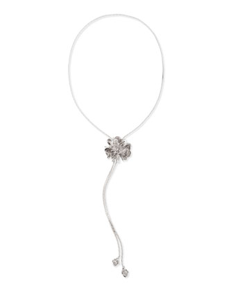Large Flower Lariat Necklace, Silver Plate