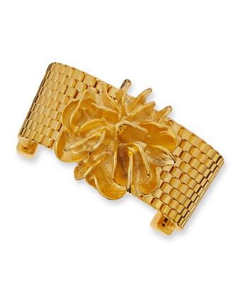 Flower Mesh Chain Bracelet, Golden