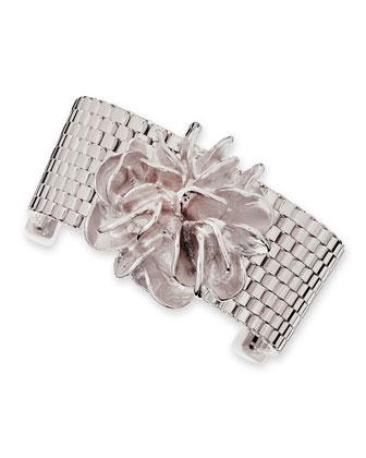 Flower Mesh Chain Bracelet, Silver-Plate