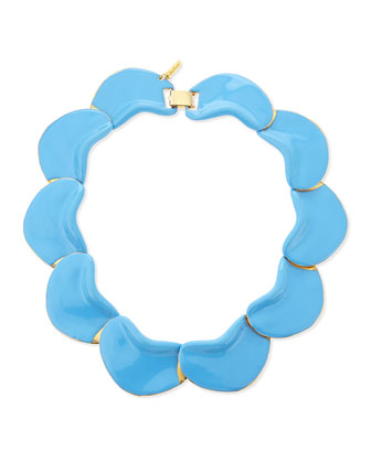Solid Petal Necklace, Light Blue