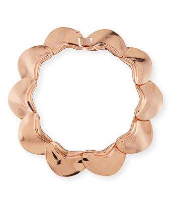 Solid Petal Necklace, Rose Gold-Plate