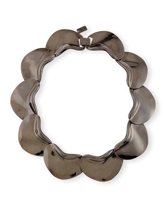 Solid Petal Necklace, Gunmetal