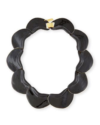 Solid Petal Necklace, Black