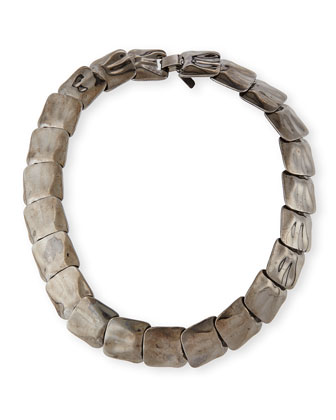 Small Hammered Square Necklace, Gunmetal