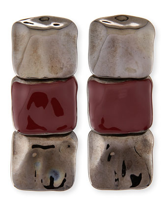 Hammered Square Drop Earrings, Gunmetal/Port