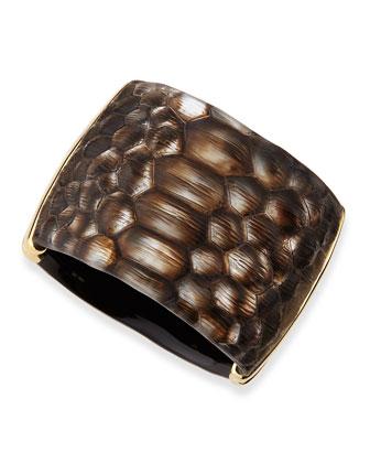 Croc-Embossed Lucite Cuff