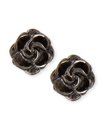 Rosette Stud Earrings, Gunmetal