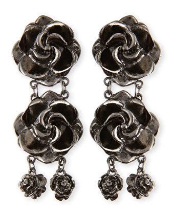 Rosette Drop Earrings, Gunmetal