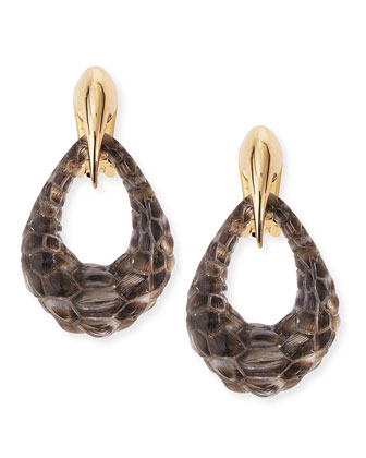 Claw-Capped Crocodile-Embossed Lucite Earrings