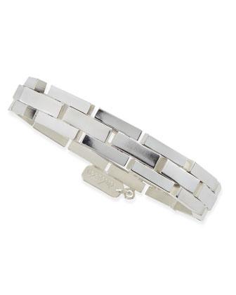 Box Link Bracelet, Silver Plate