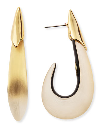 Liquid Lucite Metal Shark-Hook Post Earrings