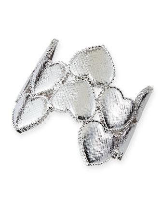 Heart Cuff Bracelet, Silver