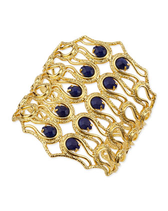 Aigrette Scalloped Bracelet with Lapis