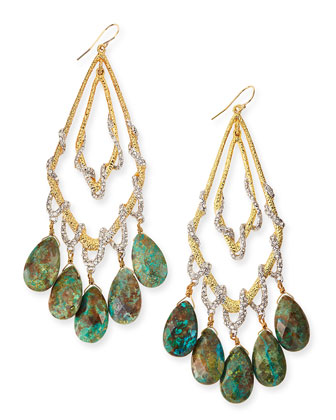 Orbiting Teardrop Earrings with Chrysocolla & Pave Crystals