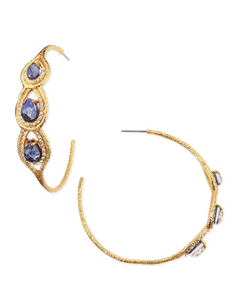 Aigrette Hoop Earrings with Sodalite
