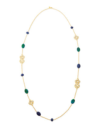 Chrysocolla, Crystal & Lapis Station Necklace