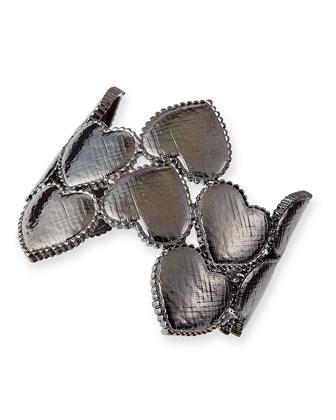 Heart Cuff Bracelet, Gunmetal