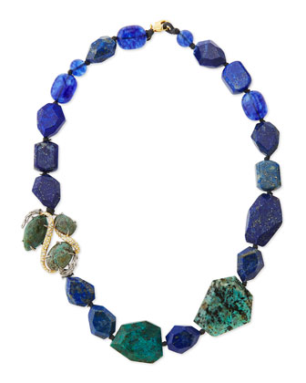Single-Strand Blue Beaded Necklace
