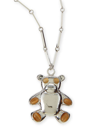 Bear Pendant Necklace, Silver Plate