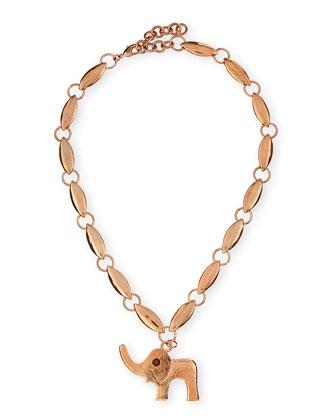 Elephant Pendant Necklace, Rose Golden