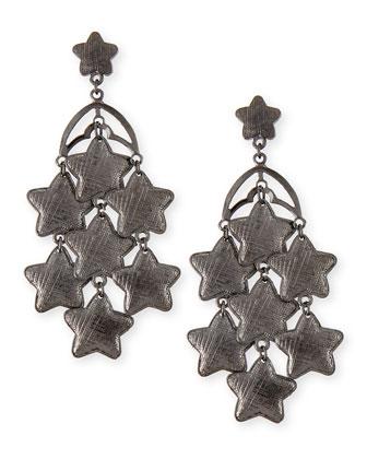 Star Chandelier Earrings, Gunmetal