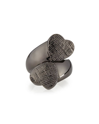 Double Heart Ring, Gunmetal
