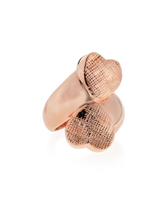 Double Heart Ring, Rose Gold-Plate