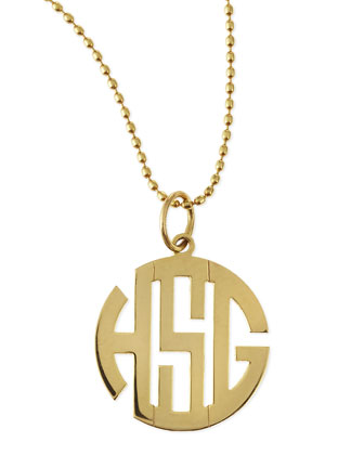 Polished Gold Gothic Font Monogram Charm