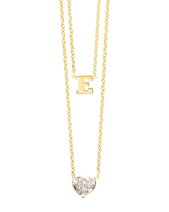 14k Polished Initial & Diamond Heart Charm Necklace
