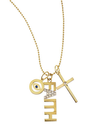 Faith 14k Gold Charm Necklace with Diamonds