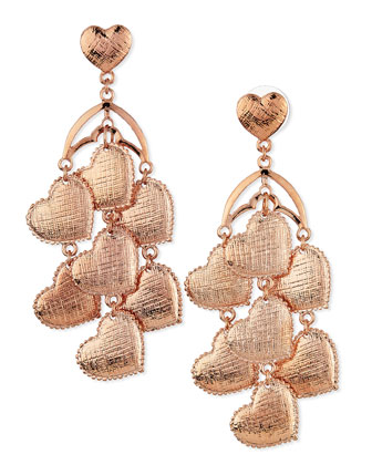 Heart Chandelier Earrings, Rose Gold-Plate