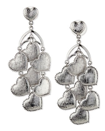 Heart Chandelier Earrings, Silver
