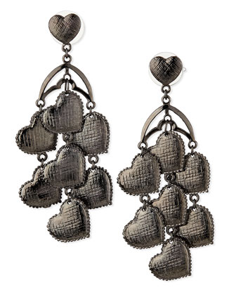 Heart Chandelier Earrings, Gunmetal