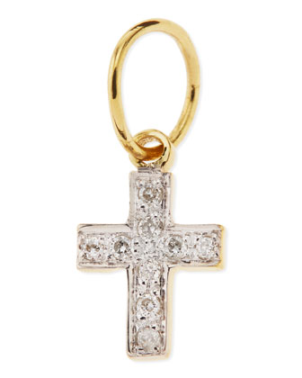 Mini White Diamond Cross Charm