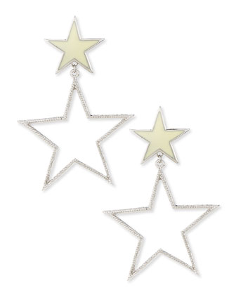 Double-Star Earrings, Silver-Plate