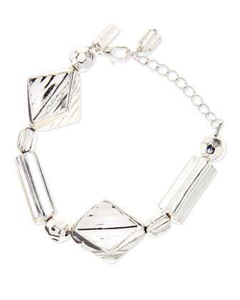 Geometric Chain Bracelet, Silver-Plate